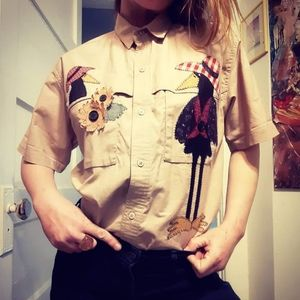 1980's khaki button up w/ birds & flowers
